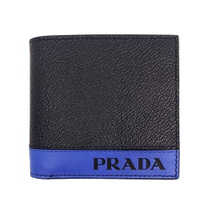 Prada Prada Mens Bi Color BLack/Blue Bifold Wallet 2mo912