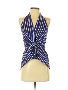 ZARA Striped Spring Summer BLUE & WHITE Halter Top
