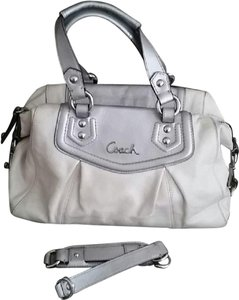 Coach Euc Ashley Leather Satchel in Off White & Silver