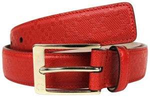 Gucci Gucci Diamante Leather Belt with Square Buckle Red 100/40 345658 6523