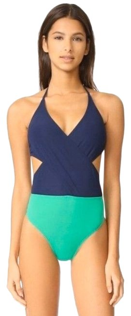 Item - Green & Navy Colorblock Wrap One-piece Bathing Suit Size 6 (S)