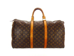 Louis Vuitton Keepall Monogram Vintage Duffel Brown Travel Bag
