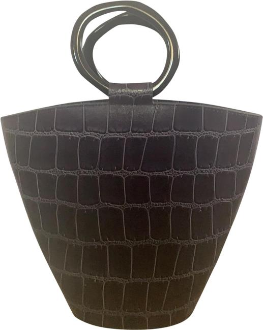 Item - Bucket Bag With Shoulder Strap Navy Croc Embossed Leather Tote
