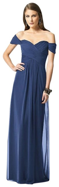 Item - Navy 2844 Chiffon Off Shoulder Gown Long Formal Dress Size 10 (M)