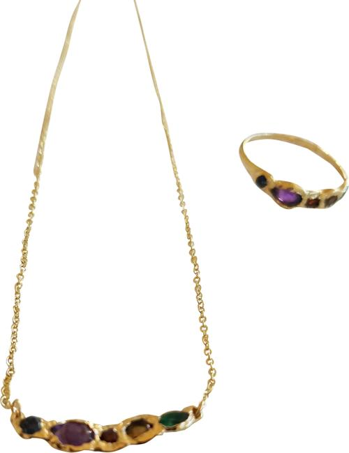 Item - Multi Color 14 Kt Gold Gemstone Matching Ring Necklace