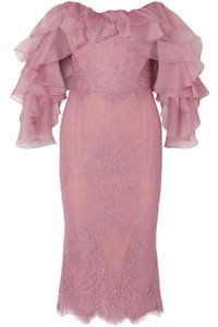 Marchesa Lace Off Shoulder Organza Bustier Dress