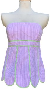 """Lilly Pulitzer 98% Cotton 2% Spandex Length@front 18"""" Length@rear 15"""" Armpit To Armpit 18"""" Top Pink"""