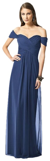 Item - Navy 2844 Chiffon Cold Shoulder Gown Long Formal Dress Size 10 (M)