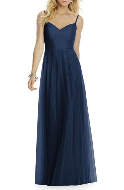 Item - Midnight 6766 Tulle A Line Bridesmaid Gown Long Formal Dress Size 12 (L)