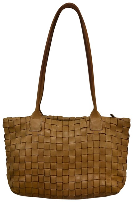 Item - German Woven Handbag Camel Brown Faux Leather Or Leather Tote