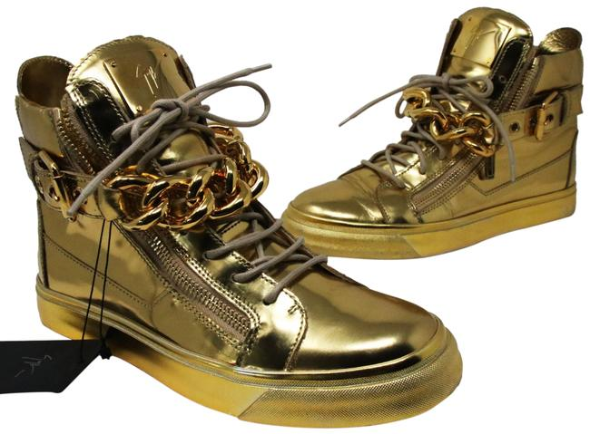 Item - Gold Mirrored Leather Chain High Tops 42 Sneakers Size US 9 Regular (M, B)