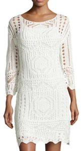 Neiman Marcus short dress Natural Crochet Micro-mini White on Tradesy