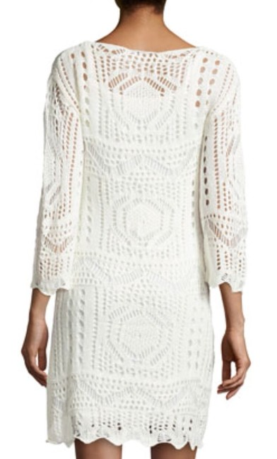 Neiman Marcus short dress Natural Crochet Micro-mini White Long Sleeve Bohemian on Tradesy