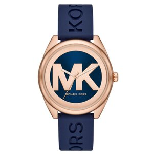 Michael Kors NEW Janelle Three-Hand Navy Silicone Watch MK7140