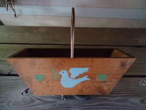 Vintage Wood Basket W/ Copper Handle