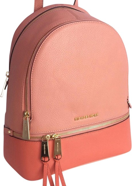 Item - Rhea Zip (New with Tags) Peach Pink Grapefruit/Gold Leather Backpack