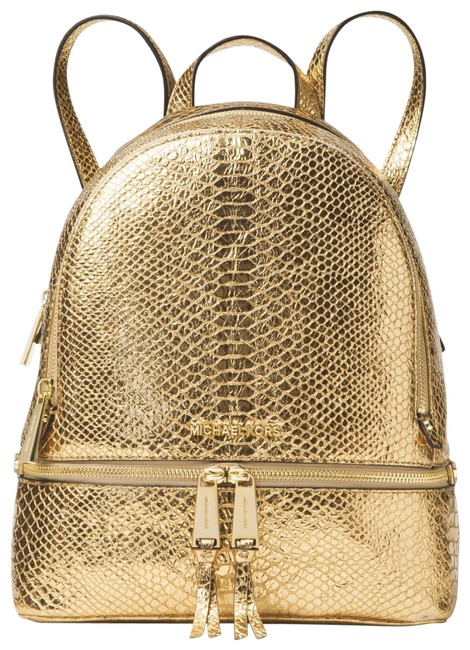 Item - Rhea Zip (New with Tags) Gold Metallic Snake Leather Backpack