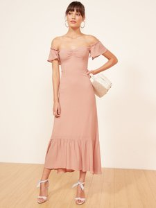 Reformation Pink Butterfly Ruffle Feminine Bridesmaid/Mob Dress Size 4 (S)