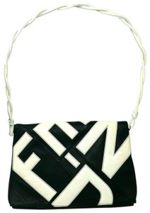Fendi Leather Patent Leather Large Black and White Clutch