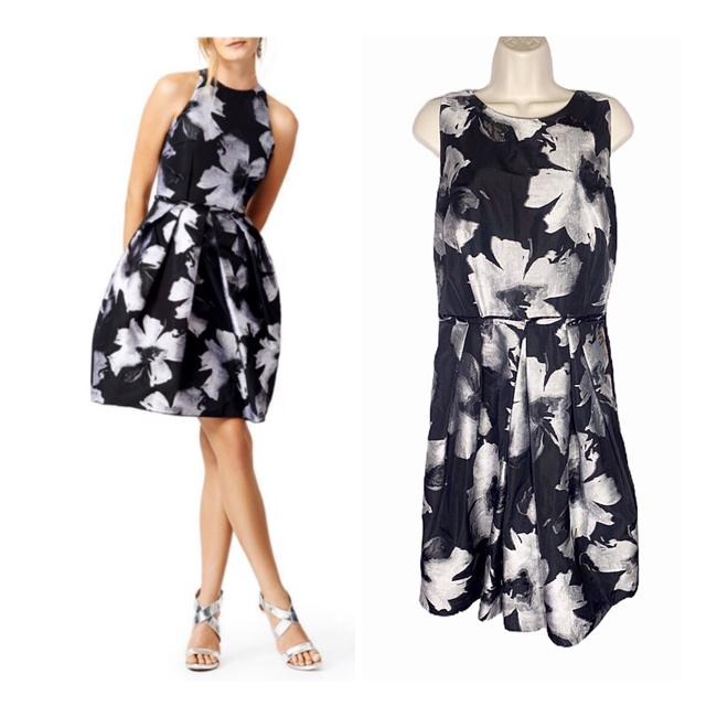 Item - Black & Silver Racing Florals Mid-length Night Out Dress Size 12 (L)