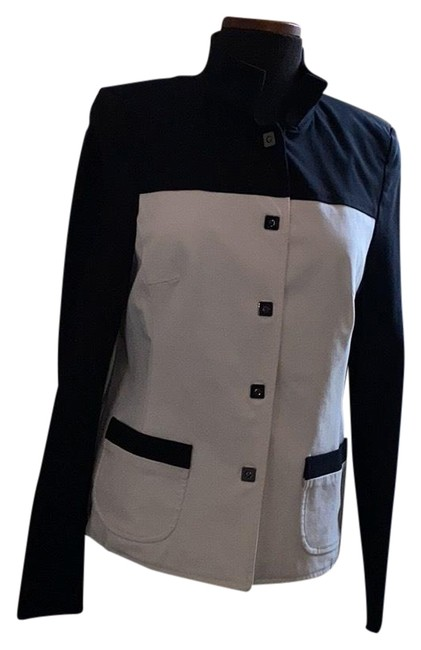Item - Black & White Color Blocked Jacket Size 6 (S)