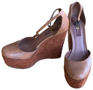 7 For All Mankind Tan Wedges
