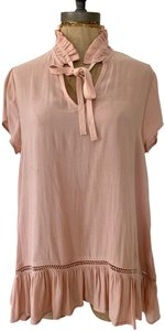 Ro & De Ruffle Bottom Soft Pullover Casual Sheer Top Peach