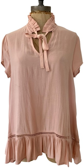 Item - Peach Pre-owned Sheer Ruffle Bottom Blouse Size 8 (M)