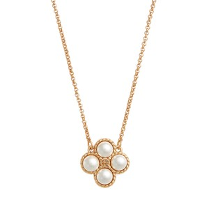 Tory Burch TORY BURCH * Gold Clover Pearl Logo Necklace