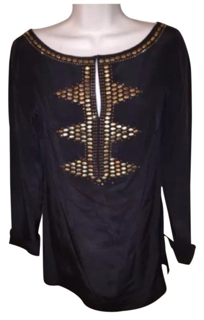 Item - Navy Silk with Gold Studding Tunic Size 4 (S)