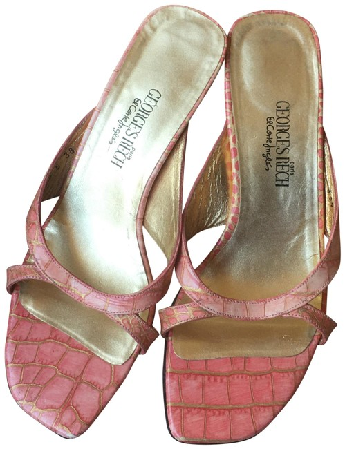 Georges Rech Pink/Gold Leather Slip On Open Sandals Size US 7.5 Regular (M, B) Georges Rech Pink/Gold Leather Slip On Open Sandals Size US 7.5 Regular (M, B) Image 1