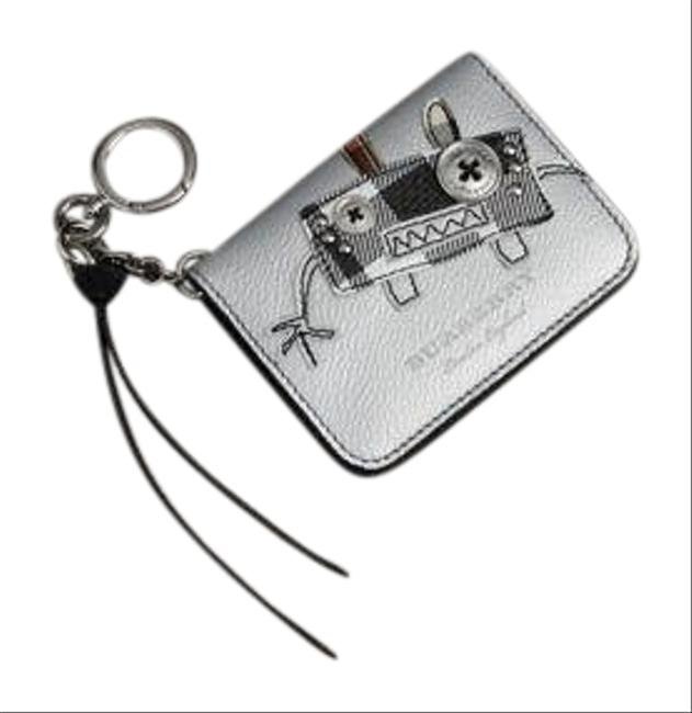Item - Silver Creature Motif Metallic Leather Id Card Case Charm In Silver/Multicolour Wallet