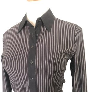 Anne Fontaine Evadev Striped Button Down Shirt Black and White