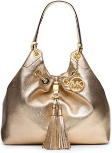 Michael Kors Purse Drawstring Tussel Large Tote in PALE GOLD/GOLD hardware