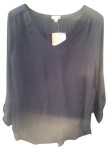 Lily White Top Navy blue