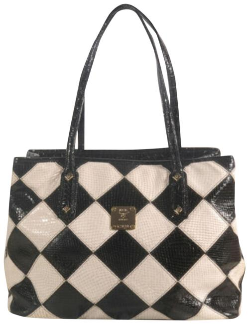 Item - Diamond Bicolor Tote Shopper Rare Limited 872703 Black and White Coated Canvas + Cowhide Shoulder Bag