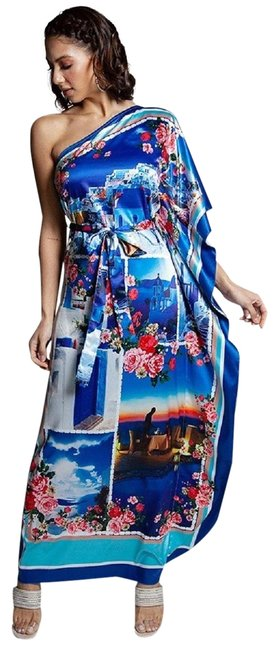 Item - Multi-color Vacation In Greece Floral One Shoulder Long Casual Maxi Dress Size 10 (M)