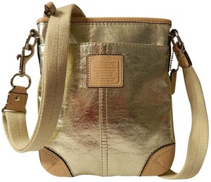 Coach Metallic Silver & Gold Genuine Leather Limited Edition Cross Body Bag