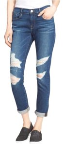 FRAME Distressed Boyfriend Cut Jeans-Dark Rinse