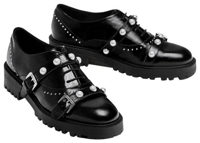 Item - Black W Leather Derby W/ Buckles & Pearl Flats Size US 6 Regular (M, B)
