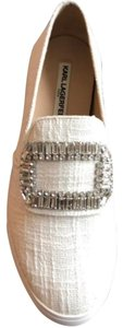 Karl Lagerfeld Casual Diamond Crystal Canvas Embellished White Flats