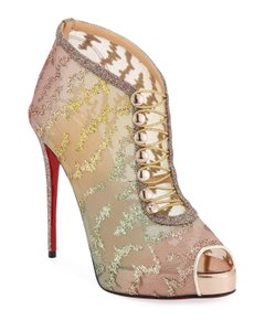 Christian Louboutin Stiletto Platform Ankle multicolor Boots