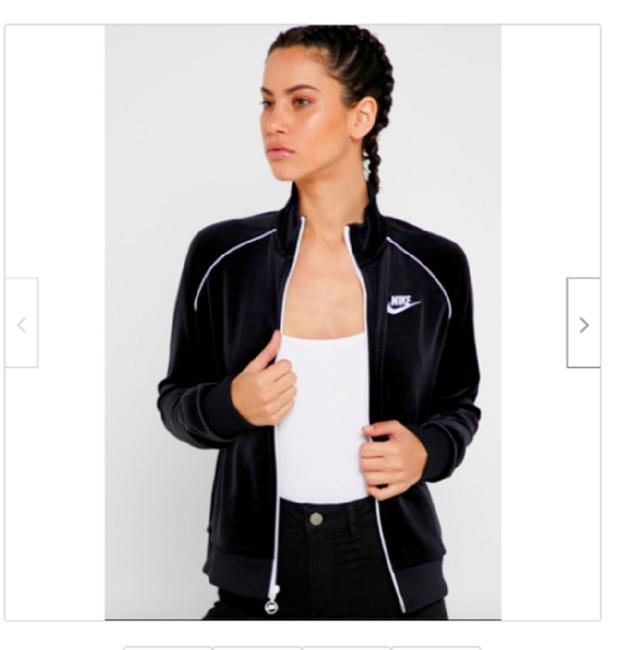 Item - Black/White Women's Sportswear/Athleisure Velour Activewear Outerwear Size 8 (M)