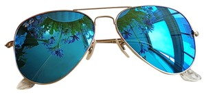 Ray-Ban Ray-Ban RB3025 Aviator Flash Gold Frame, Blue Flash Lenses - 58mm