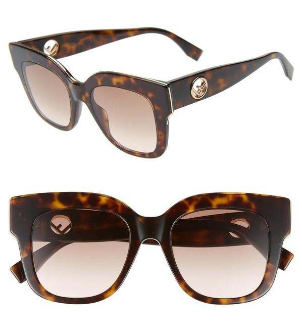 Item - Havana / Gold F Is Ff 0359/G/S - 086m2 Gradient Rectangle Sunglasses