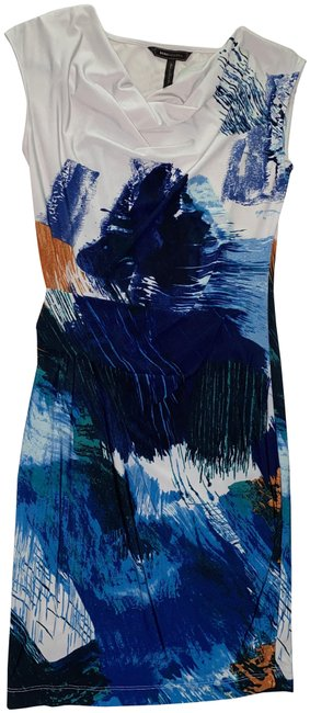 Item - Blue Cream Abstract Print Mid-length Cocktail Dress Size 2 (XS)