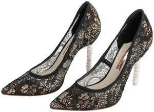 Sophia Webster Coco Crystal Laced Pointed Toe Black Pumps