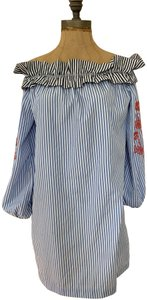 Romeo & Juliet Couture Ruffle Edge Off The Shoulder Sexy Light Weight Top red, white, blue stripes