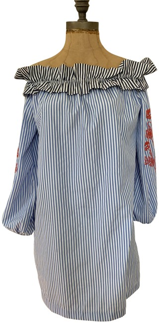 Item - Red White Blue Stripes Pre-owned Off The Shoulder Dress Blouse Size 6 (S)