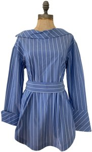 Banana Republic Button Back Belted Wear-to-work Top blue, white stripes